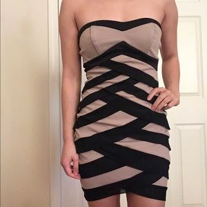 Bodycon black/tan dress